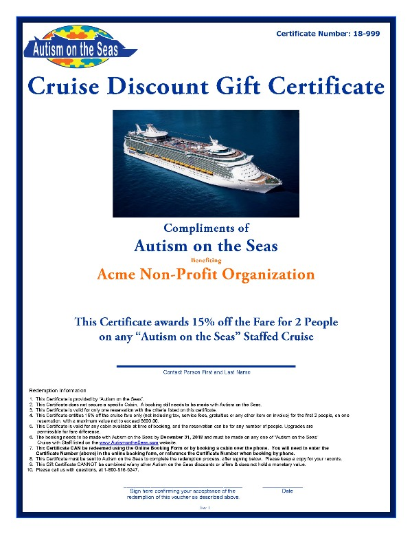 Donation Request Form  Autism On The Seas
